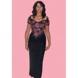květované a černé  společenské šaty