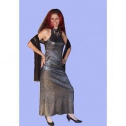 stříbrné  společenské šaty