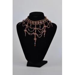 náhrdelník plesový - hnědý