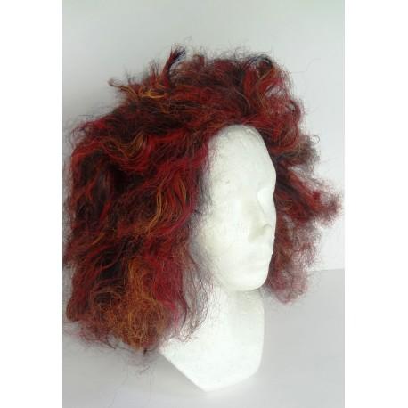 paruka - čarodějka- hnědo / červená