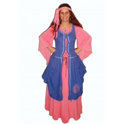 šaty růžovo modré - středověk