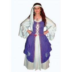 šaty fialovo béžové - středověk
