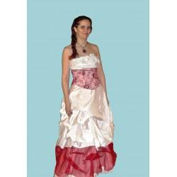 plesové šaty bílo růžovočervené