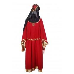 šaty  středověk  vínové