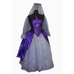 šaty fialové na dobovou dámu