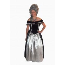 šaty dobové stříbrno  černé