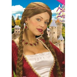 paruka hnědá s copy na středověkou paní