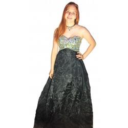 plesové šaty černé se stříbrnýma kamínkama