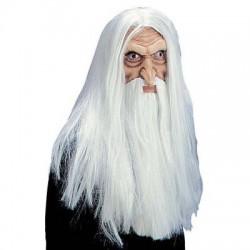gumová maska starce - dlouhé vlasy i vousy