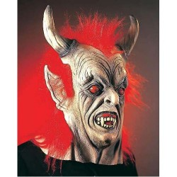 gumová maska červené vlasy - čert ,lucifer