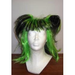 paruka zeleno černá  s culíky